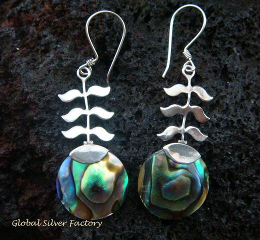 925 Silver Paua Shell Leaf Design Earrings ER-504-KT