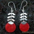 925 Silver Red Coral Leaf Design Earrings ER-503-KT