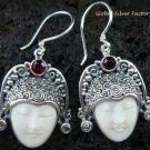 Sterling Silver Garnet Goddess Earrings GDE-910-KA