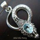 925 Silver Blue Topaz Snake Pendant SP-313-NY