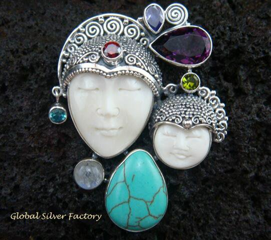 925 Silver Double Face & Mixed Gems Goddess Pendant GDP-899-KA
