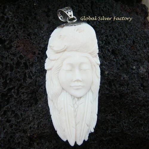 925 Silver Carved Woman & Bear Pendant SP-426-KA