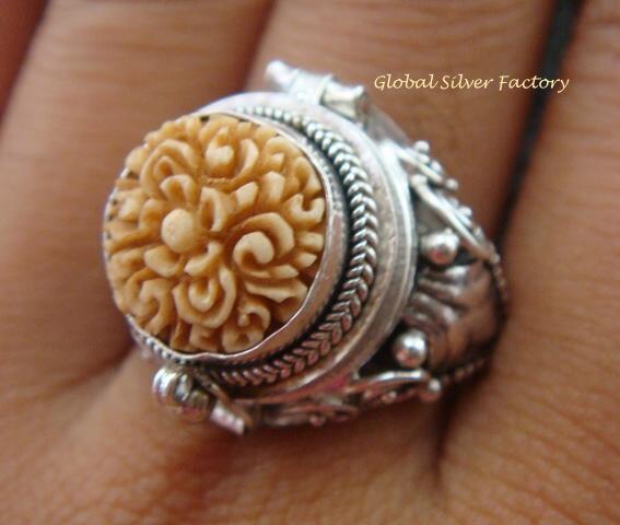 Sterling Silver Carved Flower Poison Ring LR-551-KA