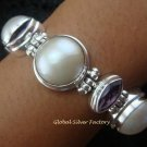 925 Silver 5 Pearls & 4 Amethyst Designer Bracelet SBB-316-KT