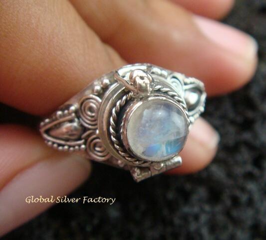 Silver & Rainbow Moonstone Locket Ring LR-536-KT