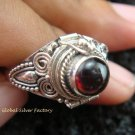Silver & Round Garnet Locket Ring LR-535-KT