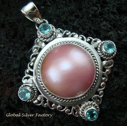 925 Silver Pearl & Blue Topaz Bali Designer Pendant SP-430-KT
