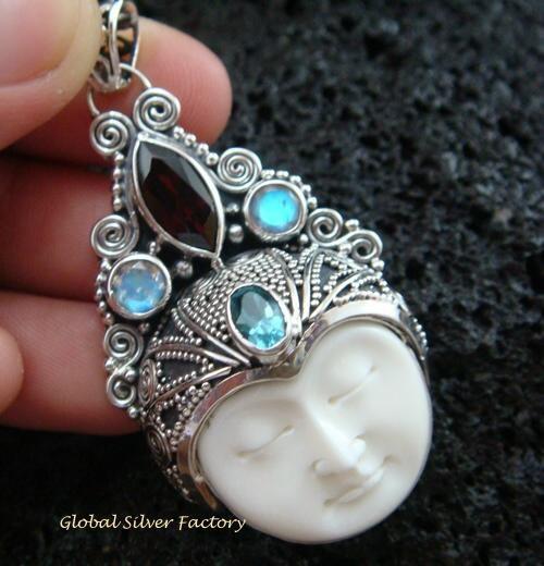 925 Silver & Mixed Gems Goddess Pendant GDP-929-PS