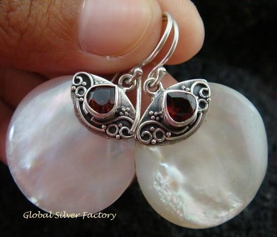 925 Silver Garnet & Round Shell Earrings ER-526-KT