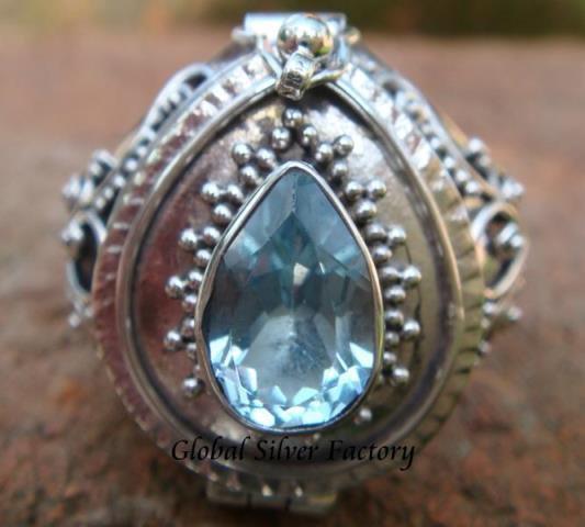 925 Sterling Silver blue topaz Poison Locket Ring LR-177-KT