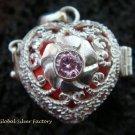 925 Silver Rose Quartz Heart Harmony Ball Pendant HB-308-KT
