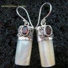 925 Silver Garnet & Shell Earrings ER-525-KT