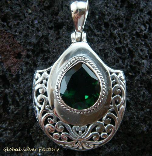 Bali Design Sterling Silver & Green Quartz Pendant SP-450-KT