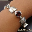 Silver & Garnet Turtle Bracelet SBB-252-PS