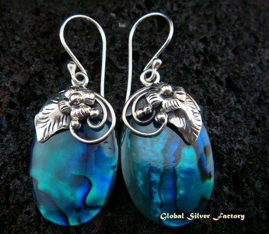 925 Silver Paua Shell Earrings ER-452-NY