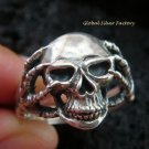 Sterling Silver Biker Skull Design Ring MJ-143-PS