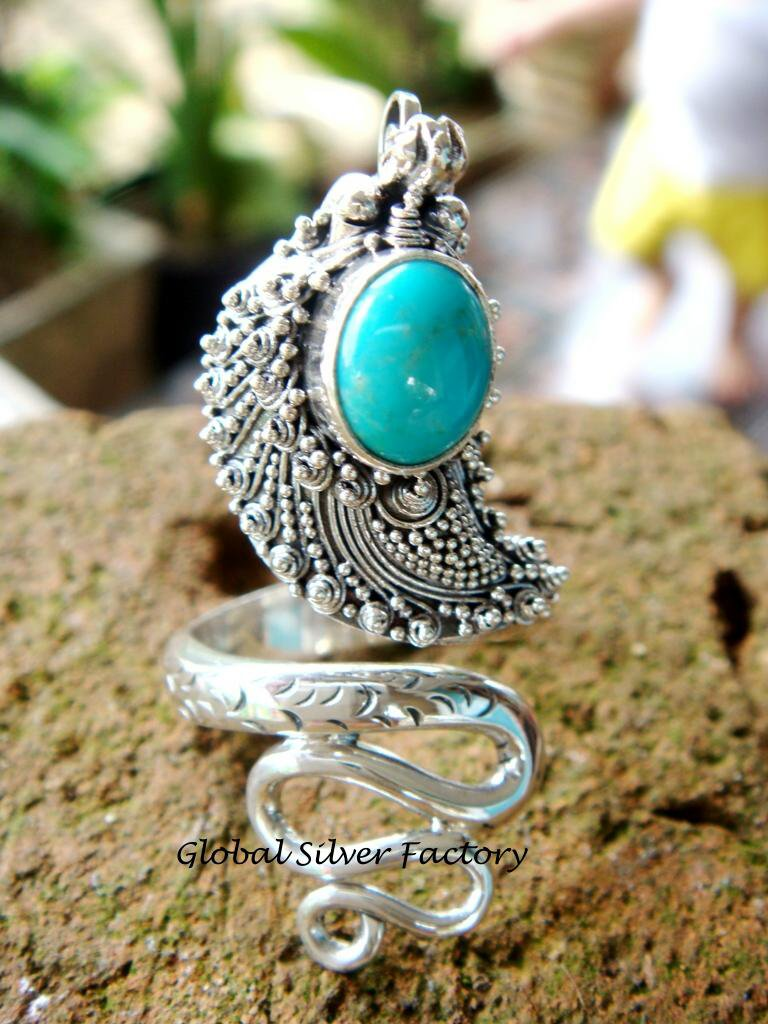 Sterling Silver Turquoise Snake Ring RI-185-NY