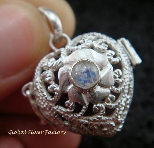 925 Silver Heart Harmony Ball Pendant HB-306-KT