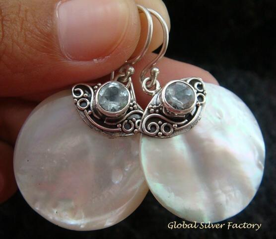 925 Silver Blue Topaz & Round Shell Earrings ER-527-KT