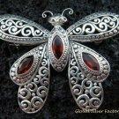 Sterling Silver & Garnet Butterfly Brooch BC-163-KT