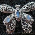 925 Silver Rainbow Moonstone Butterfly Brooch BC-162-KT
