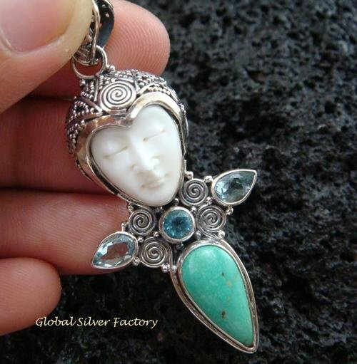 925 Silver & Turquoise Goddess Pendant GDP-937-PS