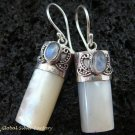 925 Silver Rainbow Moonstone & Shell Earrings ER-523-KT
