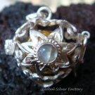 Silver Moonstone Flower Heart Harmony Ball Pendant HB-228b-KT