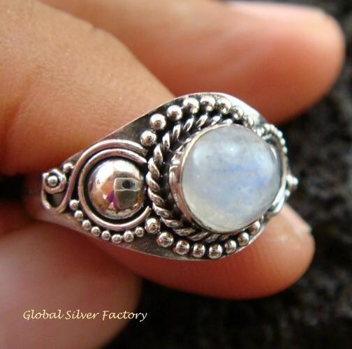 925 Silver Rainbow Moonstone Ring RI-280-KT