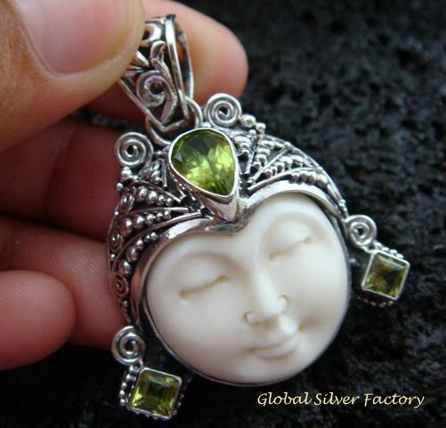 Sterling Silver Peridot Goddess Pendant GDP-973-KT