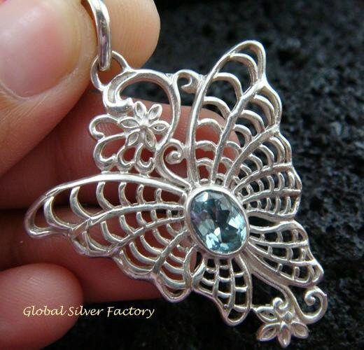 925 Silver & Blue Topaz Butterfly Pendant SP-466-KT