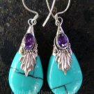 Silver Amethyst Synthetic Turquoise Teardrop Earrings SJ-143b-KA