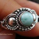 Sterling Silver Larimar Gemstone Ring RI-282-KT