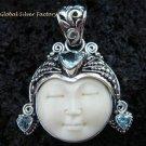 Sterling Silver Blue Topaz Goddess Pendant GDP-971-KT
