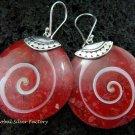 Sterling Silver Red Shell Earrings ER-547-KT