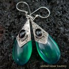 925 Silver Syn Green Quartz & Black Onyx Earrings SJ-220-KT