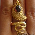 925 Silver & Gold Vermeil Garnet Snake Ring GPR-111-NY
