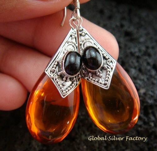 925 Silver Syntethic Amber & Black Onyx Earrings SJ-218-KT
