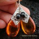 925 Silver Syntethic Amber & Black Onyx Earrings SJ-218-KT