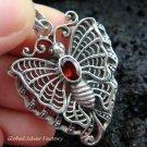 Sterling Silver & Garnet Butterfly Pendant SP-461-KT