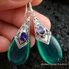925 Silver Syntethic Green Quartz & Amethyst Earrings SJ-127-KT