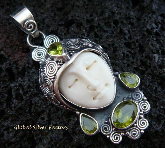 Sterling Silver & Peridot Goddess Pendant GDP-881-KT