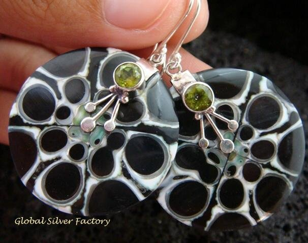 925 Silver Peridot & Shell Earrings ER-545-KT