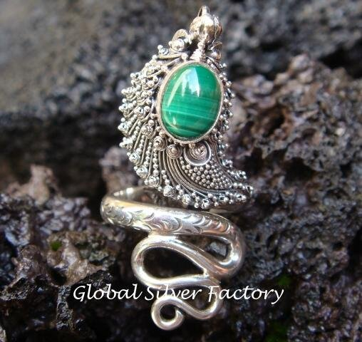 925 Silver Malachite Snake Ring RI-187-NY