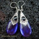 925 Silver Syn Amethyst & Black Onyx Earrings SJ-216-KT