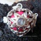 Silver Moonstone Flower Heart Harmony Ball Pendant HB-228c-KT