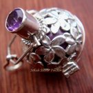 925 Silver Amethyst Frangipani Harmony Ball Pendant HB-112-KT