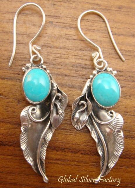 Silver & Turquoise Leaf Design Earrings ER-367-NY