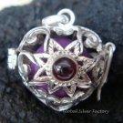 Silver Garnet Flower Heart Harmony Ball Pendant HB-229-KT