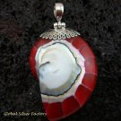 925 Silver Red Nautilus Shell Pendant SP-453-KT
